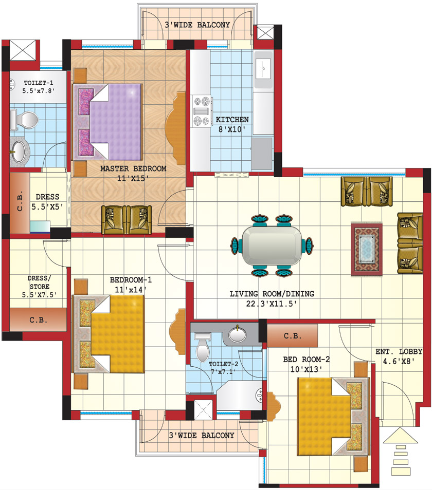 Three Bedroom Townhomes For Rent | Show Home Design