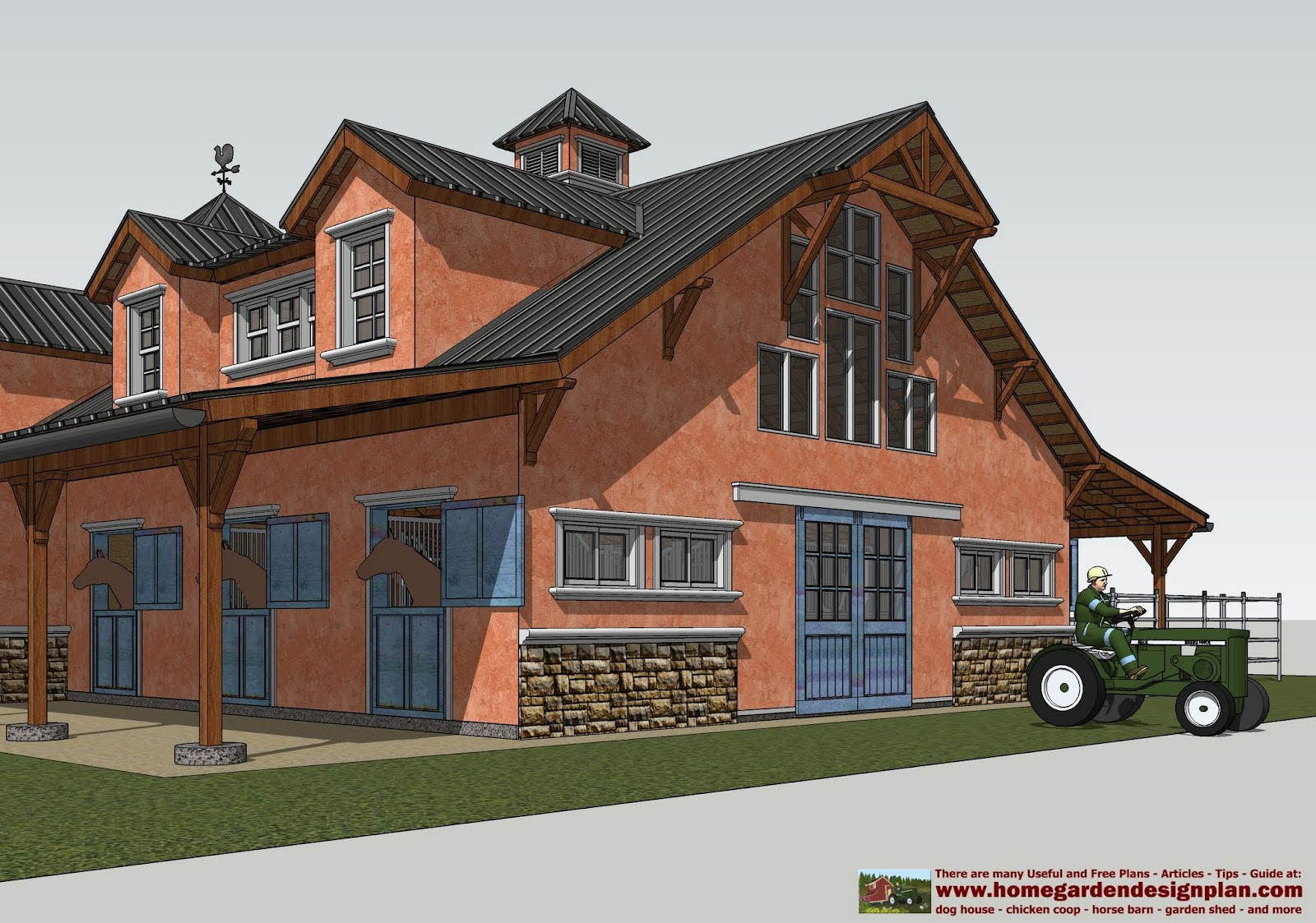 Mina hb100 horse barn plans horse barn design for Horse barn designs