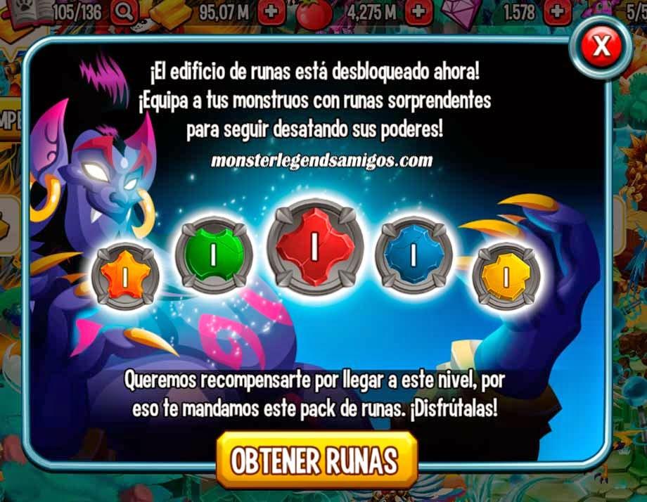 imagen de la nueva runa de oro de monster legends