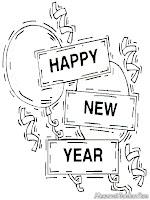 Lembar Mewarnai Gambar Tahun Baru