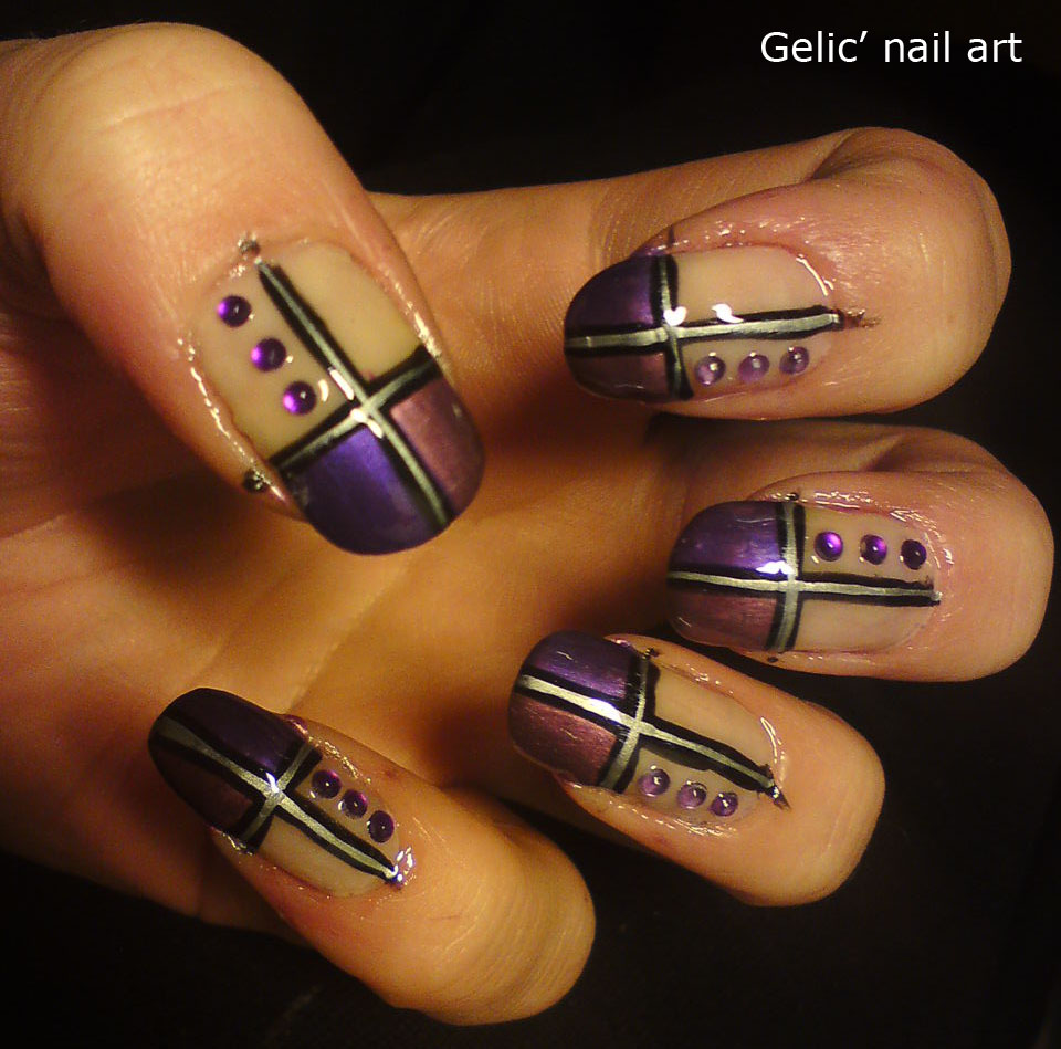 Gelic\' nail art: Purple nuance duo cross funky french with rhinestones