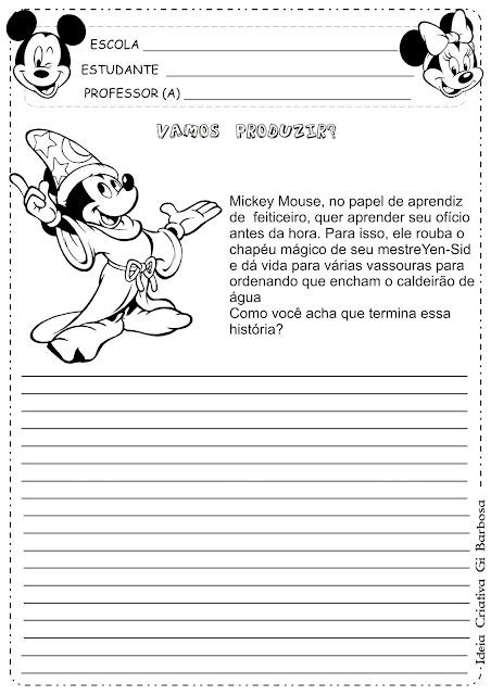 Atividade Produção de Texto Mickey o Aprendiz de Feiticeiro