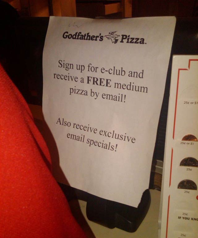 Sign Up To Receive Free Pizza by Email From Godfather's Pizza e-Club