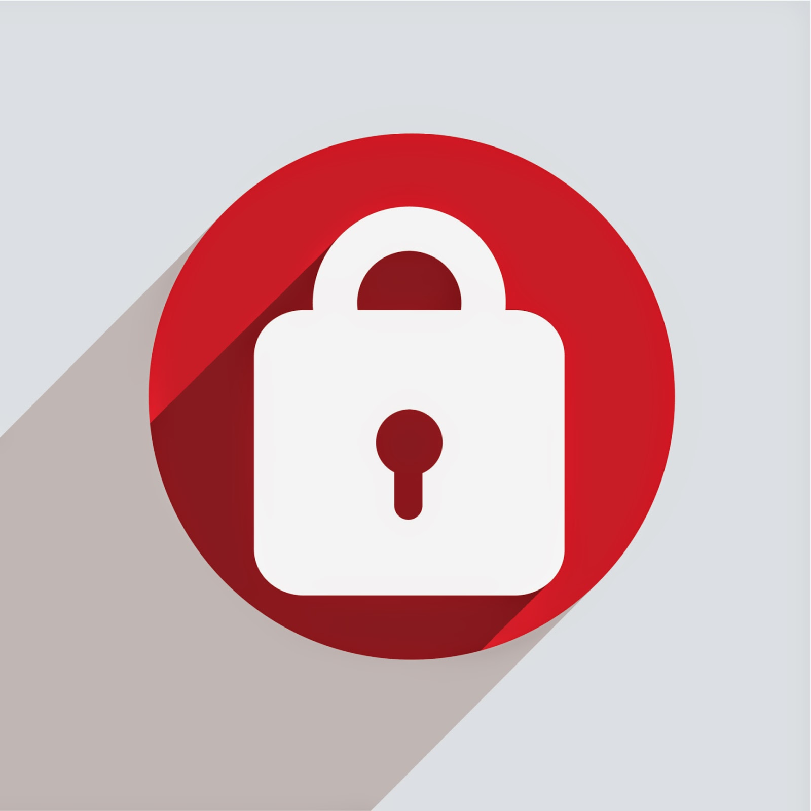 white lock on red background