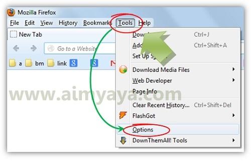 Gambar: Menampilkan jendela options firefox melalui menu bar