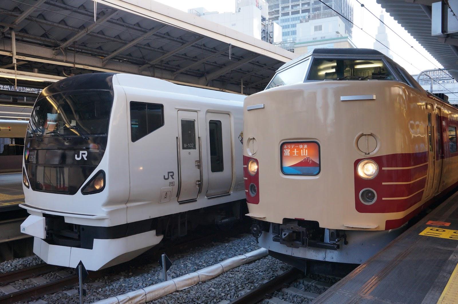 E257系青梅マラソン1号と189系ホリデー快速富士山1号