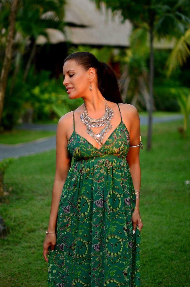 Bali, Indonesia, LookBook Store Green printed maxi dress, Coin necklace, Myca Couture, Legian Beach hotel, Flash tattoo,Tamara Chloé, TC Style Clues