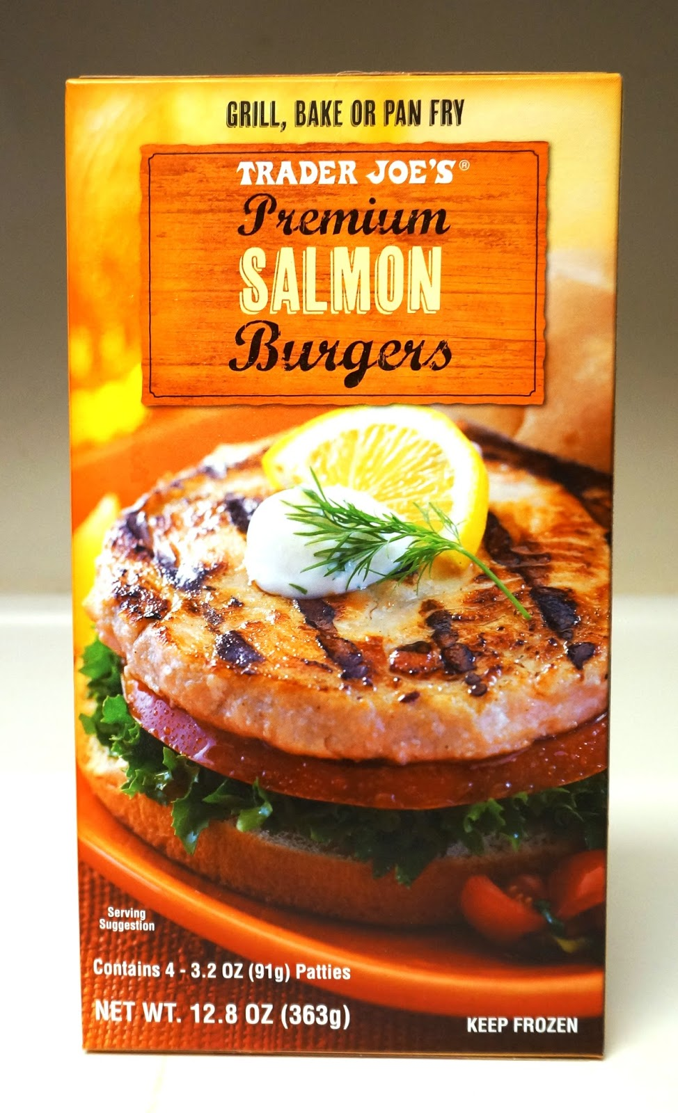 Exploring trader joe 39 s trader joe 39 s premium salmon burgers for Trader joe s fish