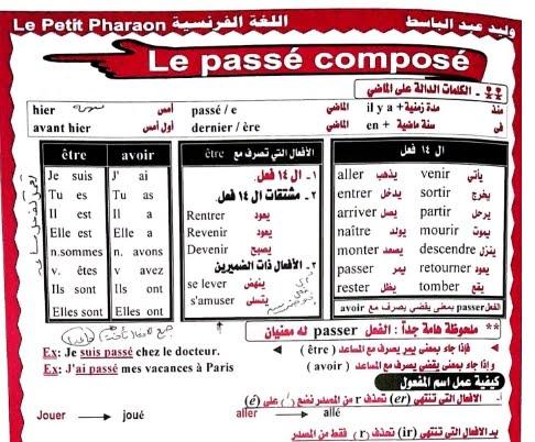 المراجعة الرابعة اللغة الفرنسية للصف الثالث الثانوى 2017 مسيو وليدعبدالباسط