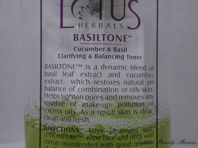 LOTUS HERBALS BASILTONE Clarifying & Balancing Toner claims