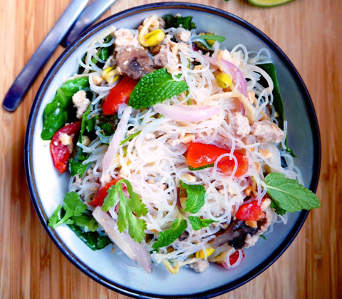 Yum Woon Sen - Spicy Thai Glass Noodles Salad | Thailand Recipes