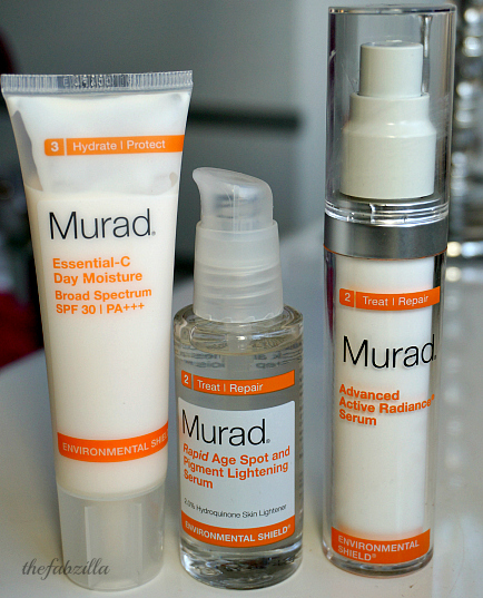 Murad Environmental Shield, Murad Rapid Age Spot and Pigment Lightening Serum, Murad Advanced Active Radiance Serum, Murad Essential C Day Moisture, Review, Skincare, Vitamin C  in skincare
