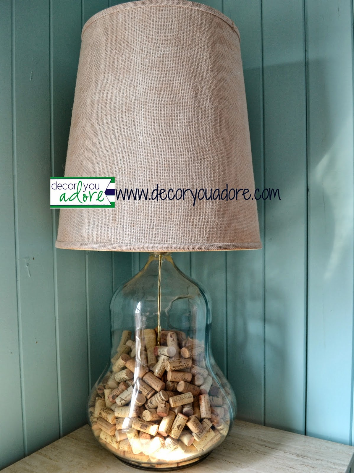 Decor you adore flea market find a diy collection lamp for Wine cork lampshade