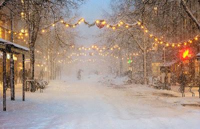 Christmas Lights in Winter Snow Nights