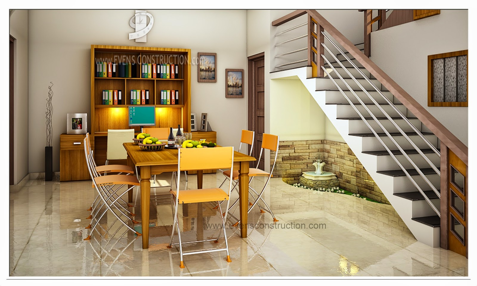 Evens construction pvt ltd beautiful interior design for for House dining hall design