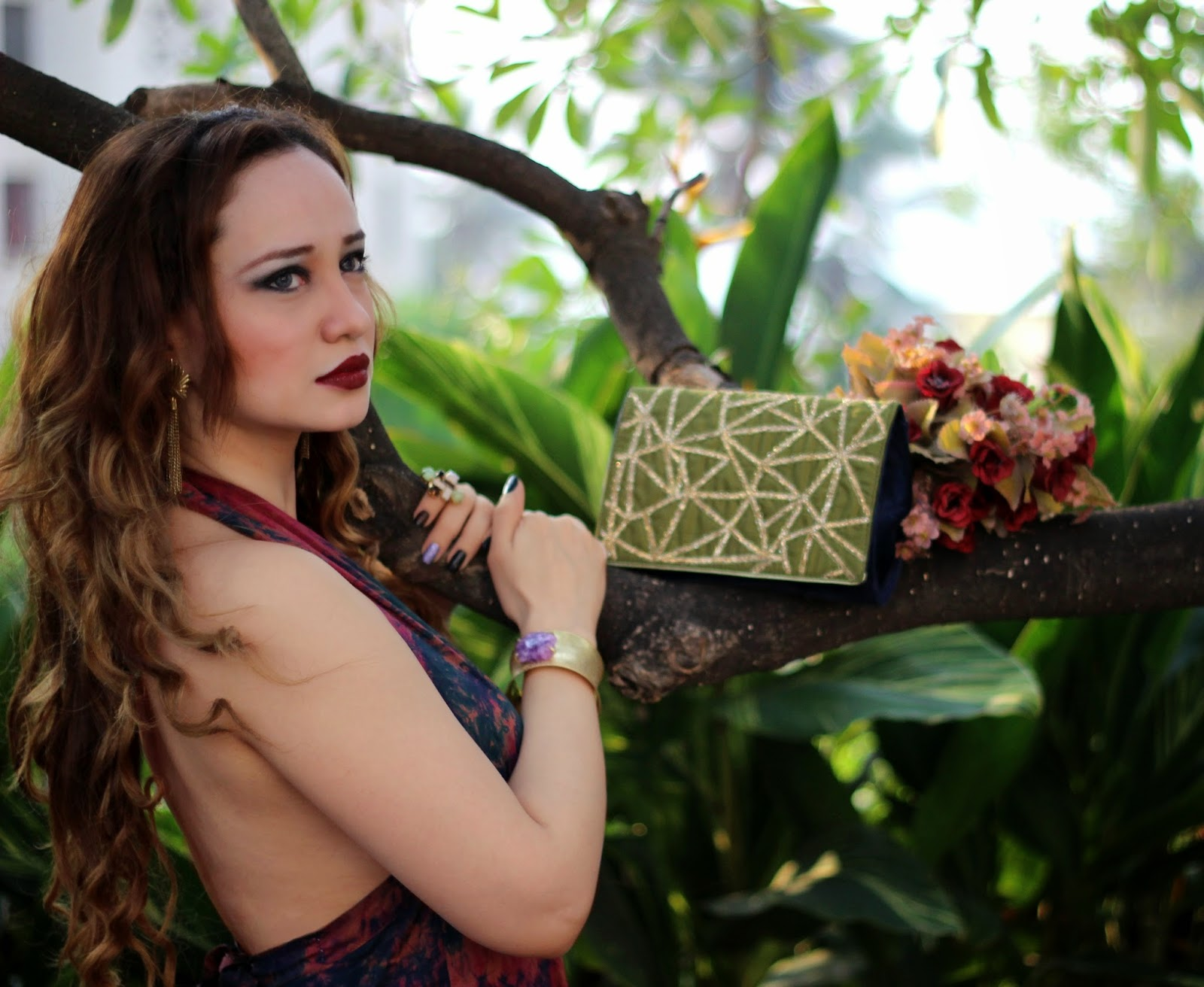Girl with Curls, Mac Diva, Bordeaux Lips, Embroidered Clutch
