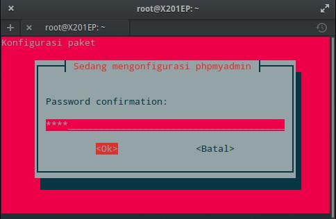 Instal MySQL dan phpMyAdmin : Ulangi Kata Sandi phpMyAdmin (ROOT)