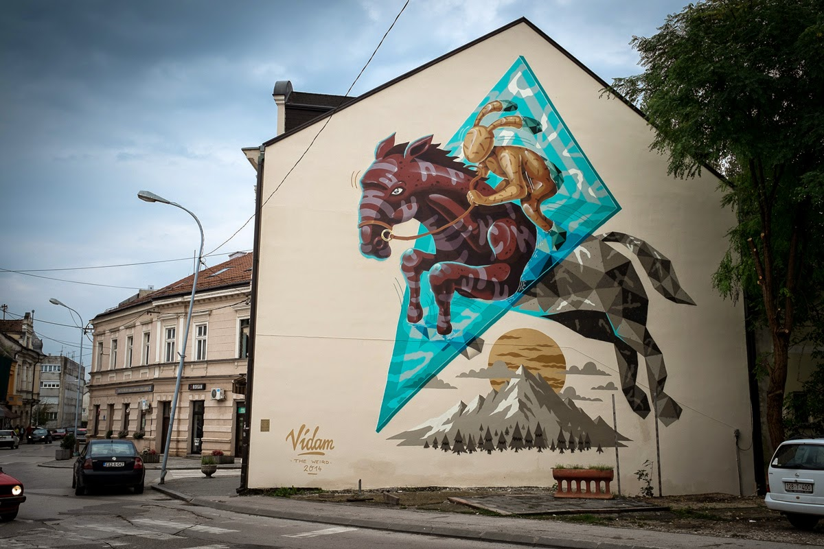 Vidam from the popular The Weird crew just sent us a series of images from his newest mural somewhere on the streets of Prijedor, a small city in the north-western part of Bosnia and Herzegovina.