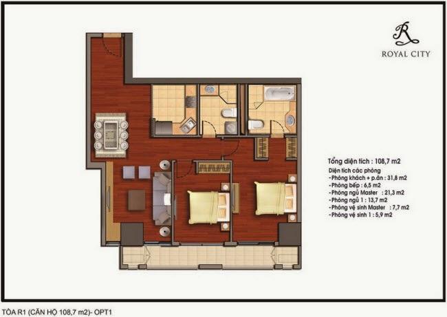Chi tiết thiết kế căn hộ toà R1 chung cư Royal City diện tích 108.7 m2