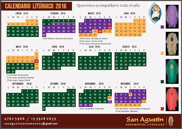 ... Agustin Ornamentos Litúrgicos - Argentina: Calendario Liturgico 2016