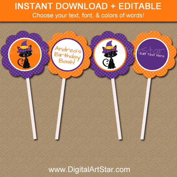 orange & purple halloween cupcake toppers