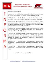 C.T.A. INFORMA CRÉDITO HORARIO CRISTOBAL NIETO, ABRIL 2019