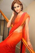 Sony Charista Glamorous in Saffron saree-thumbnail-2