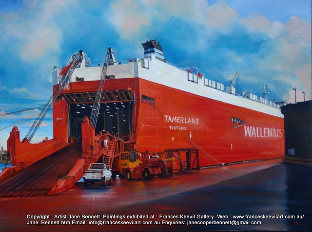 oil painting of  cranes and Wallenius Wilhelmsen ship 'Tamerlane'  at the Hungry Mile, now Barangaroo by industrial heritage artist Jane Bennett