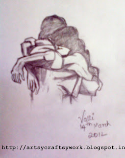 couple embrace sketch