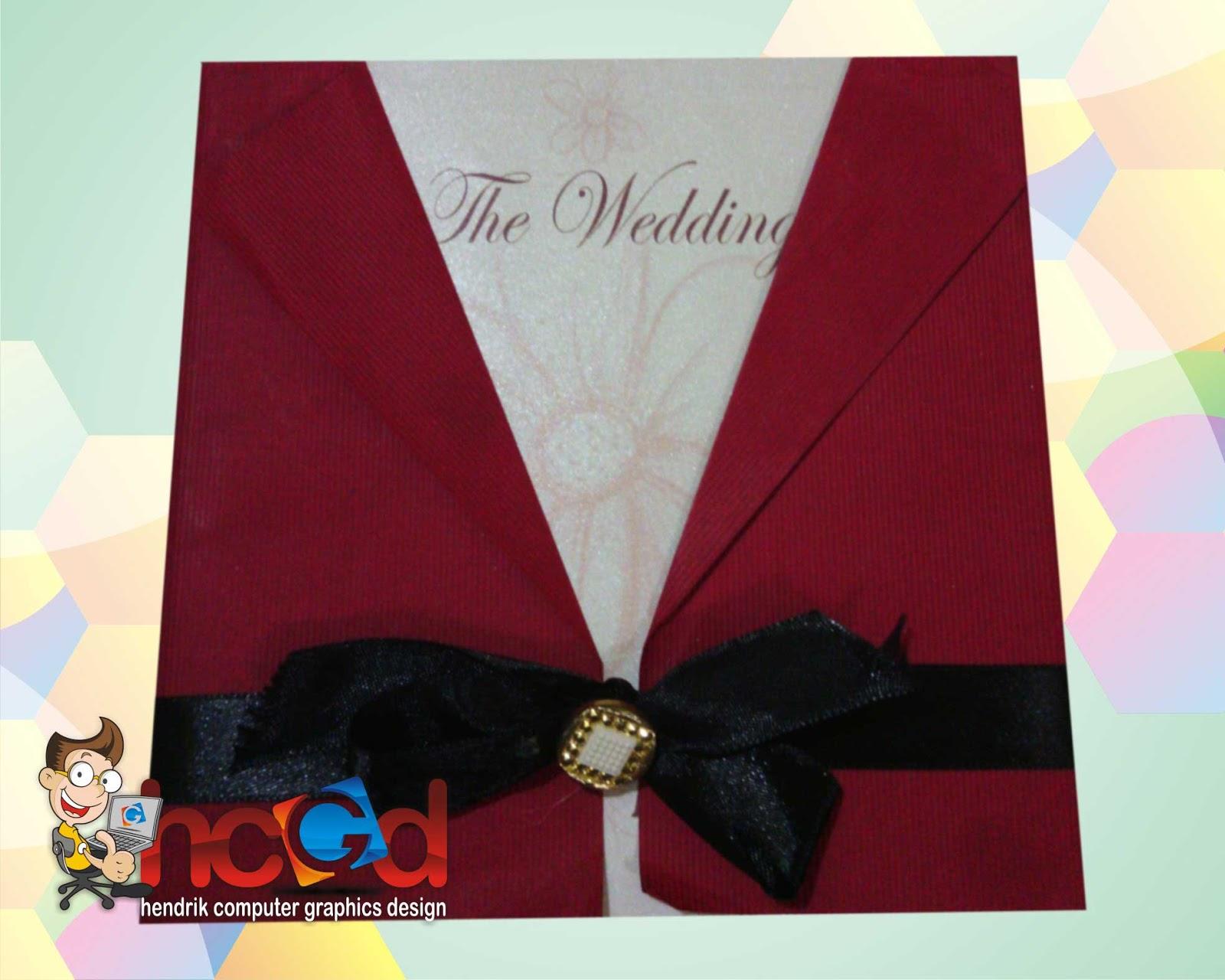 Undangan Pernikahan Model Baju Merah Pita