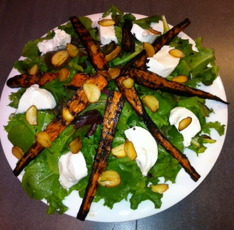 burnt carrots with fresh greens