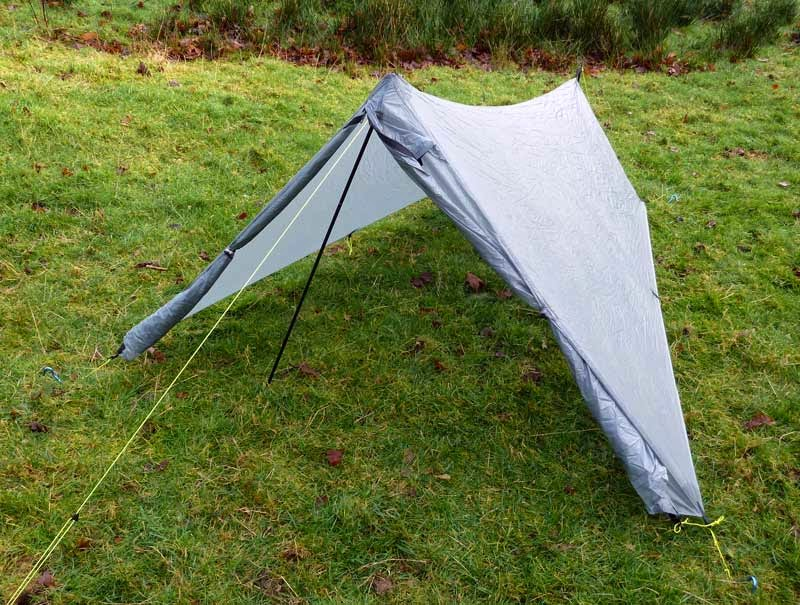 Tarp mode ... off-set pole lowers the pitch and makes getting in easier. & Trekkertent Stealth ... bomb-proof shelter. | Bear Bones Bikepacking