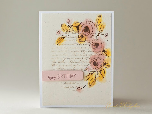 Birthday Card with Painted Flowers from Altenew by Sweet Kobylkin
