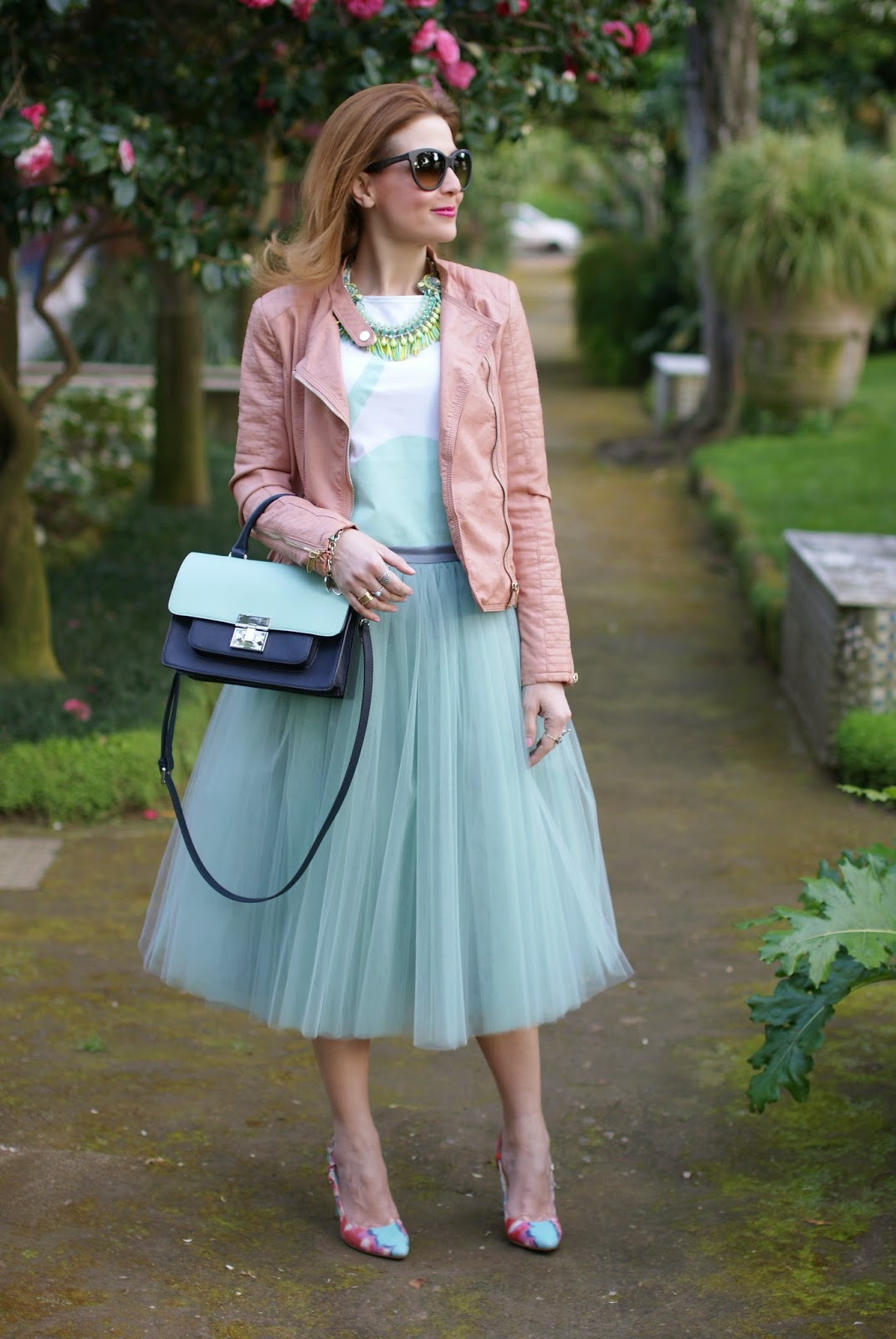 veil skirt, tulle skirt, mint tulle skirt, Miu Miu lookalike bag, Icone shoes, Rose a Pois, Fashion and Cookies, fashion blogger
