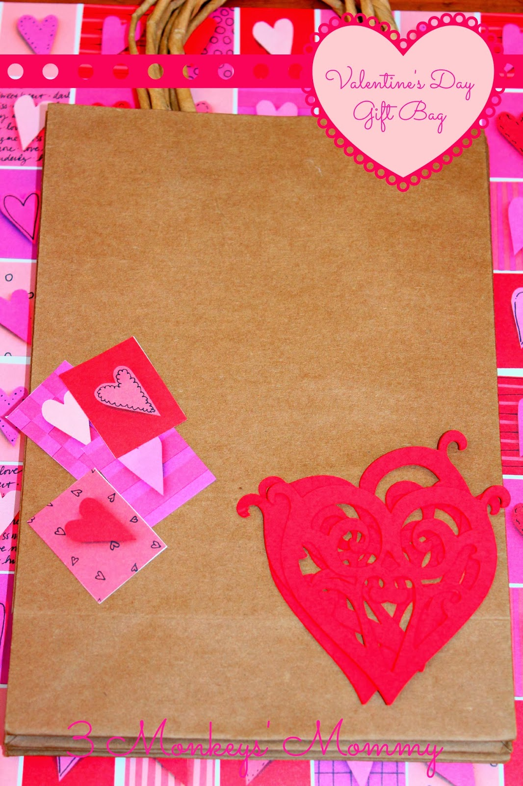 washi tape scrapbook paper i used a heart patterned sheet plain craft gift bags i got these at the dollar store 31