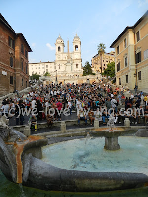 The church sits at the top of the Spanish Steps