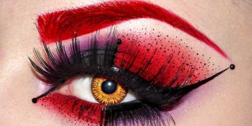 maquillar cejas rojas disfraz diablesa