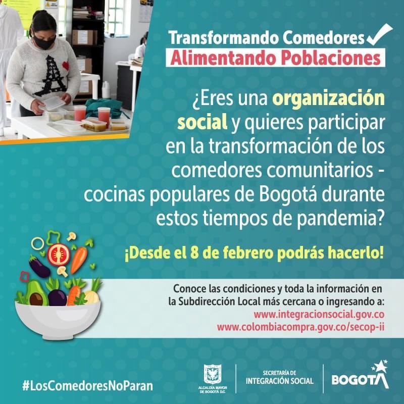 Quieres hacer parte de la Transformaciòn de los comedores comunitarios. PARTICIPA YA