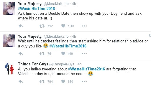 Check Out The Funny Tweets From #WasteHisTime2016