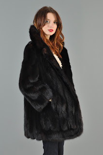 Vintage 1960's black mink Russian sable fur coat.