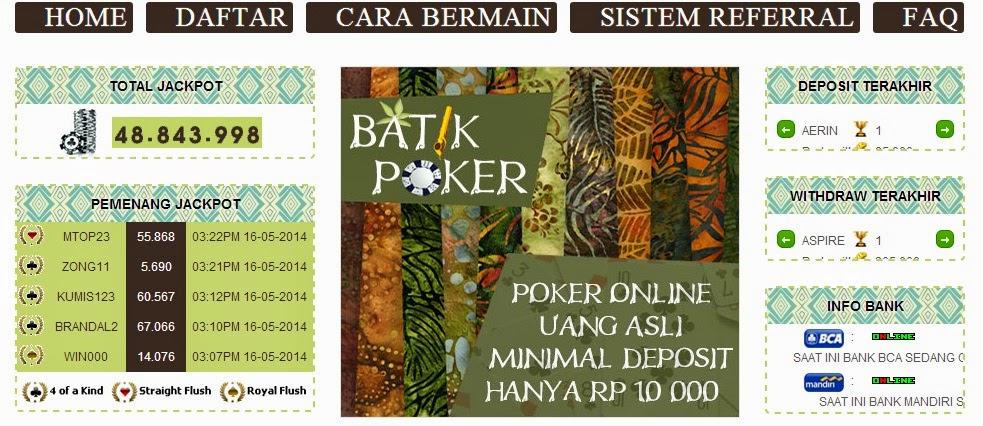 Batikpoker.com Judi Poker Online Uang Asli Indonesia
