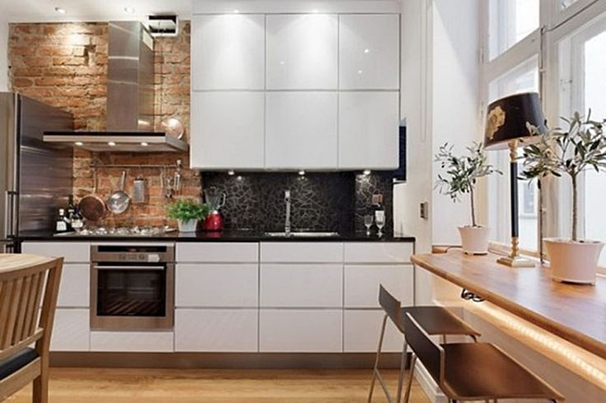 kitchen exposed brick