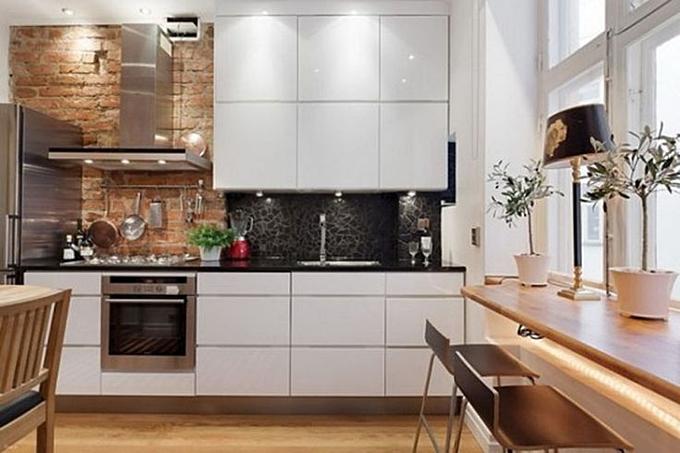 kitchen exposed brick