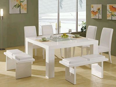 Modern dining room furniture white color for Muebles de comedor en color blanco