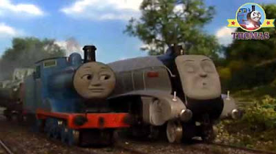 Thomas tank Spencer train happily snoozing and dreaming Edward the great railway blue train engine
