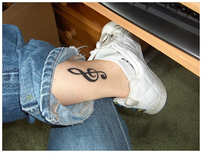 tattoo, tattoos, ink, ankle, music, treble clef