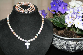 Elegance necklace & bracelet set - freshwater pearls, Swarovski crystals, mother of pearl :: All the Pretty Things