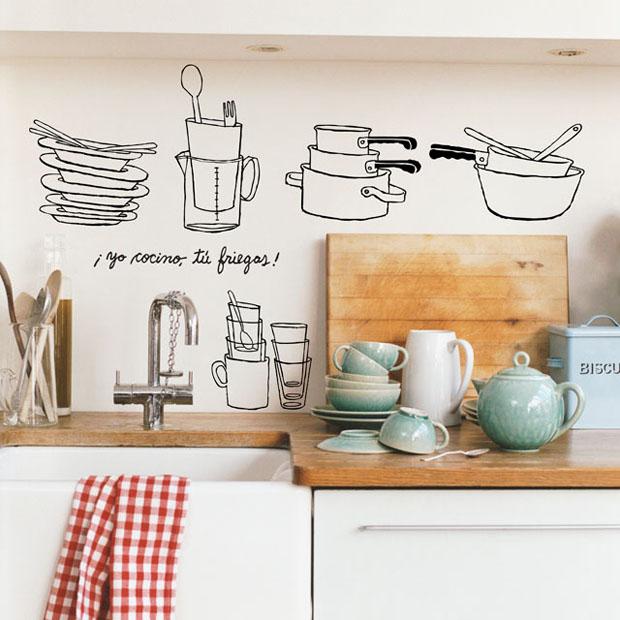 Vinilo,pared,Chispum,vinil,wall,kitchen,cocino,friegas,cocina,platos,pan,spoon,cuchara,cacerolas,vaso