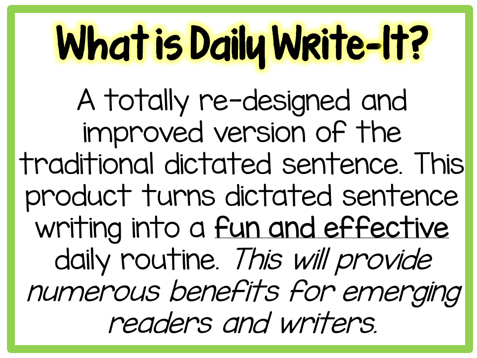 https://www.teacherspayteachers.com/Product/Daily-Write-It-Dictated-Wrting-Routine-w-Simple-Sentences-Smartboard-Print-1730231