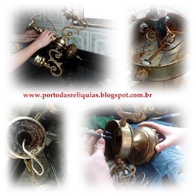 lustre de bronze - restauração - reciclagem - reforma de lustre